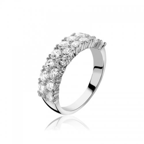 Zinzi Silver Ring With 2 Rows Of White Zirconias ZIR1053