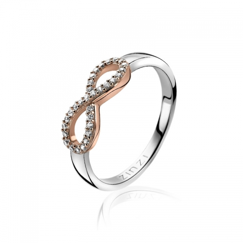 Zinzi Silver Infinity Ring With White Zirconias ZIR1065D