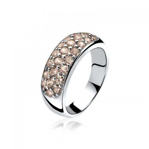 Zinzi Silver Ring With Champagne Pavé Set Cubic Zirconias ZIR334C