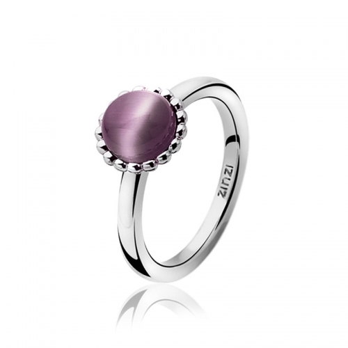 Zinzi Silver Ring With A Cabochon Purple Cats Eye ZIR793P
