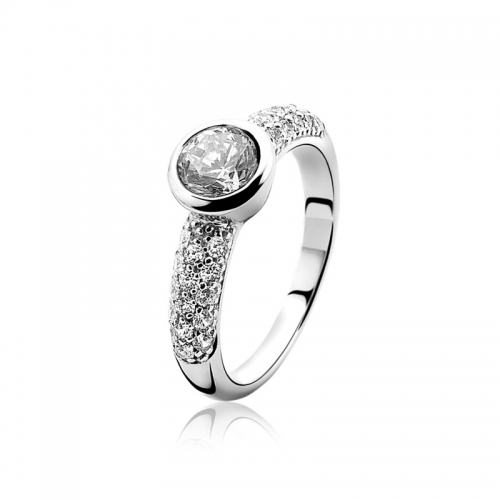 Zinzi Silver Ring With A Large And Pavé Set White Zirconias ZIR840
