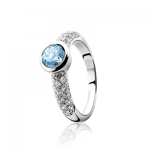 Zinzi Silver Ring With A Large Blue And Pavé Set White Zirconias ZIR840B