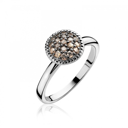 Zinzi Round Mount Ring With Champagne Zirconias ZIR930C