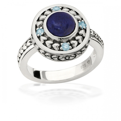 STORYWHEELS SILVER & Lapis HALO RING R7966MUL1