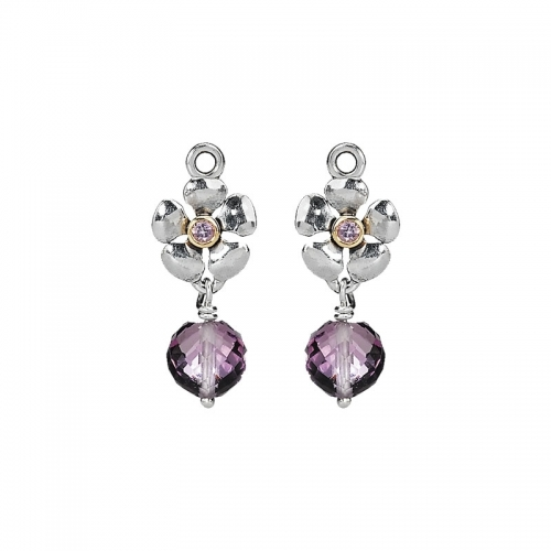 Ex-Display: Pandora Sterling Silver, 14ct Gold and Amethyst Posy Earring Pendants 290620AM