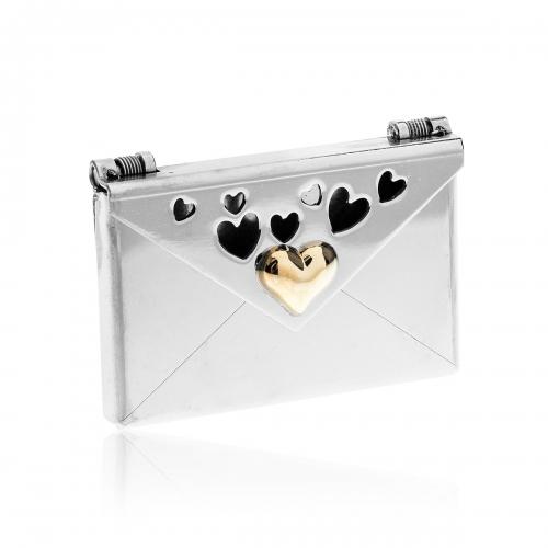 Love Letters Cut Out Heart Steel Envelope Locket LL-EV-005