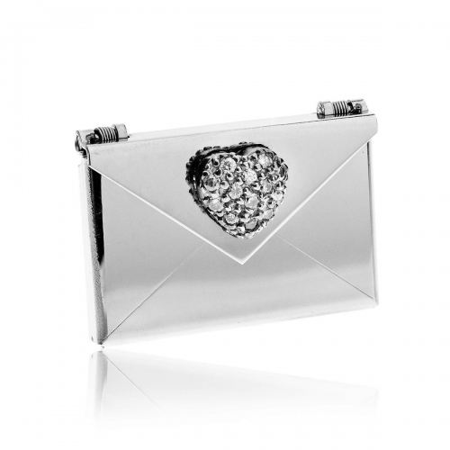 Love Letters CZ Heart Steel Envelope Locket LL-EV-003