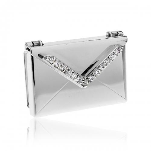Love Letters CZ Steel Envelope Locket LL-EV-0011