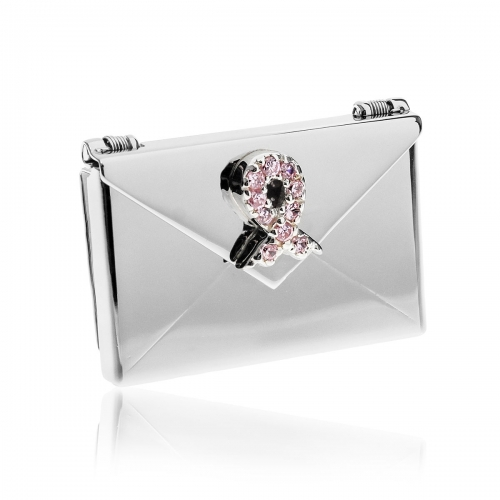 Love Letters Pink CZ Ribbon Steel Envelope Locket LL-EV-0015