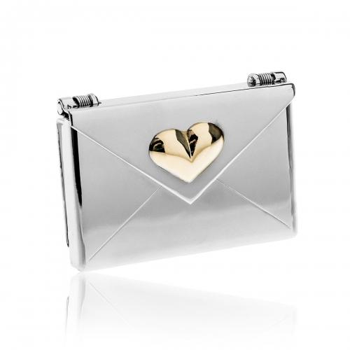 Love Letters Gold Big Heart Steel Envelope Locket LL-EV-0012