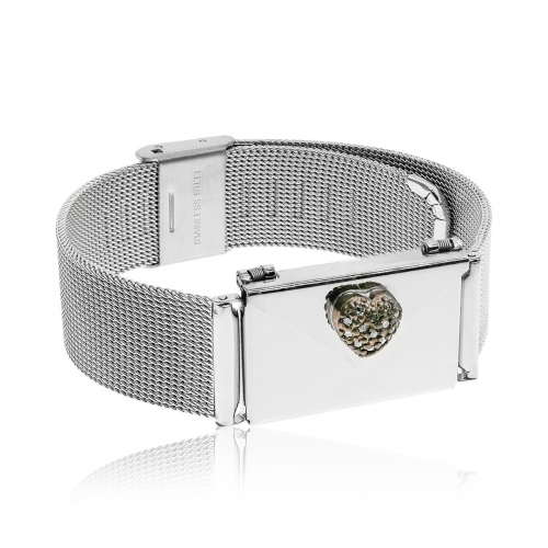 Love Letters CZ Heart Locket and Steel Bracelet Set