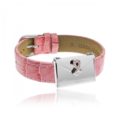 Love Letters Pink CZ Ribbon Envelope Locket & Pink Leather Bracelet Set LL-BRS-01-0015