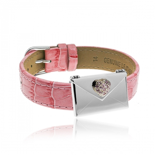 Love Letters Pink CZ Heart Envelope Locket & Pink Leather Bracelet Set LL-BRS-01-0016