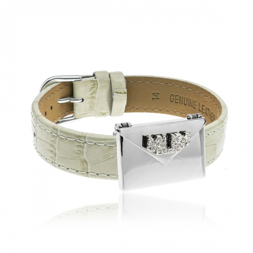 Love Letters CZ Mum Envelope Locket & Cream Leather Bracelet Set LL-BRS-05-0013