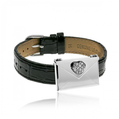 Love Letters CZ Heart Envelope Locket & Black Leather Bracelet Set LL-BRS-06-0003