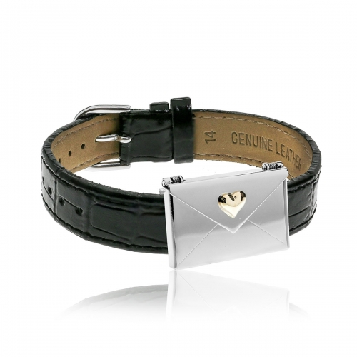 Love Letters Gold Heart Envelope Locket & Black Leather Bracelet Set LL-BRS-06-0017