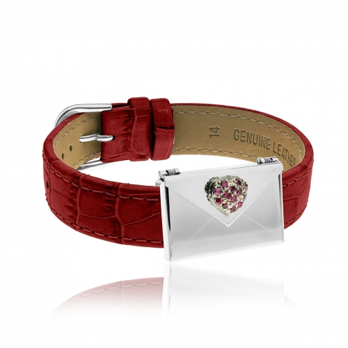 Love Letters Red CZ Heart Envelope Locket & Red Leather Bracelet Set LL-BRS-09-0007