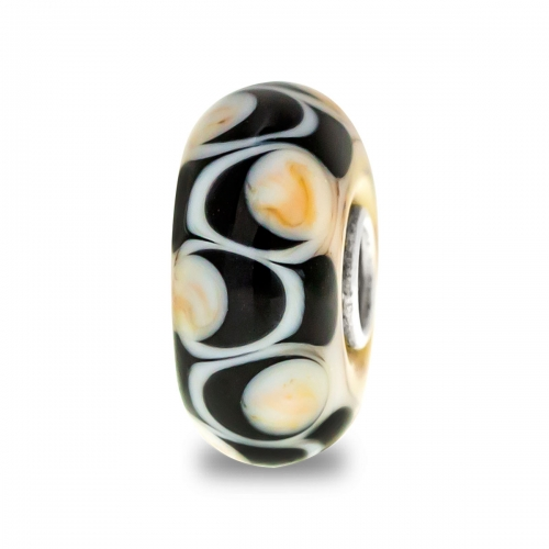 Trollbeads Black and Beige Unique Silver & Glass Bead