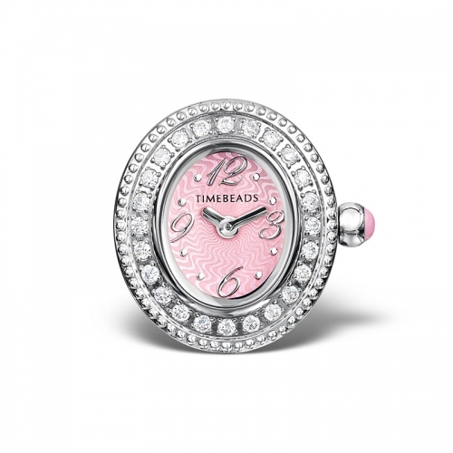 Ex Display: Timebeads Pink and CZ Oval Face with Clip Fastening TB2006CZPK