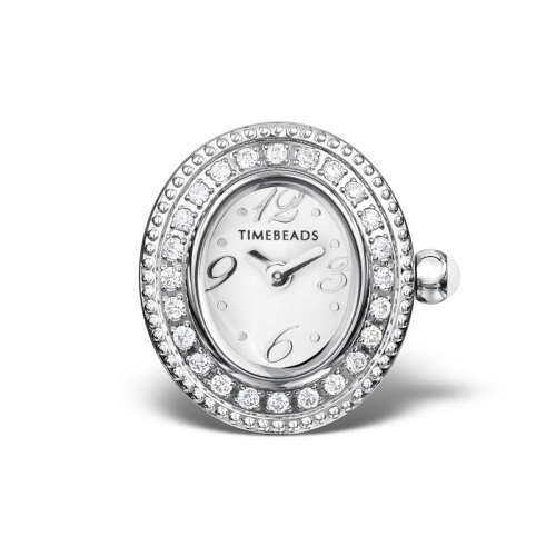 Ex Display: Timebeads White Oval Face with CZ and Screw Fastening TB1002CZWH