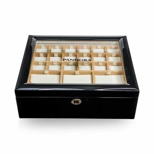 EX DISPLAY: Black Pandora Small Double-Tiered Jewellery Presentation Box