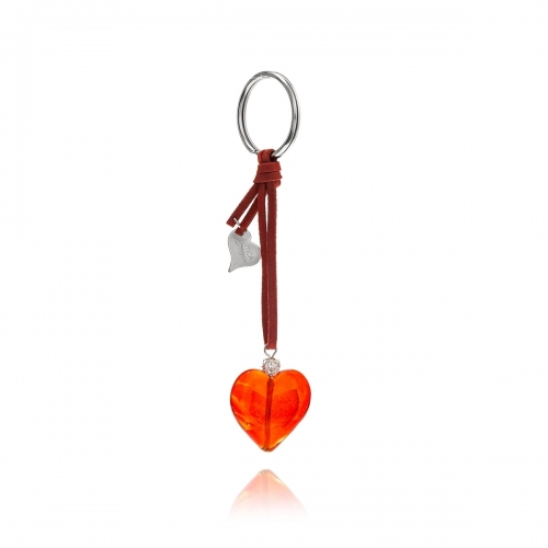 Antica Murrina Red Heart Venetian Glass Key Ring