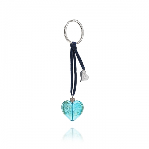 Antica Murrina Turquoise Heart Venetian Glass Key Ring