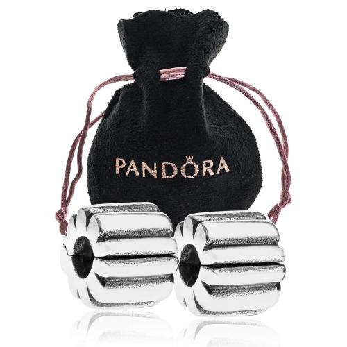 Pandora 2x Ribbed Silver Clip 790163 & Pouch Set