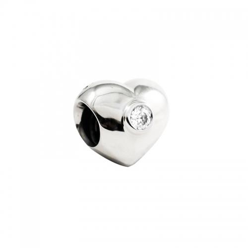 EX DISPLAY: Pandora Clear Sparkling Heart Silver & Clear CZ Charm 790134CZ
