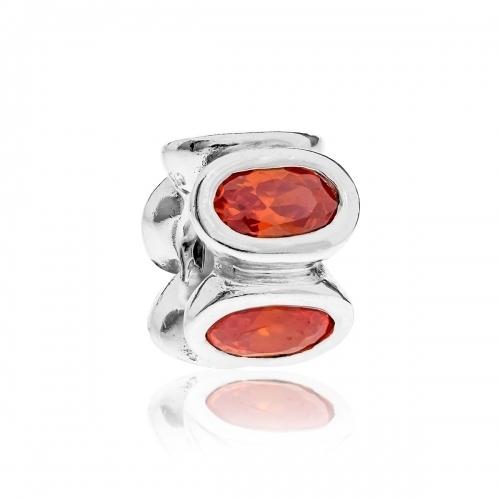 OUTLET: Pandora Oval Silver & Orange CZ Charm 790311OCZ