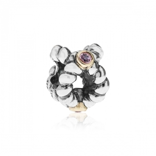 OUTLET: Pandora Binding Beauty Silver, 14ct Gold & Pink Sapphire Charm 790410PSA