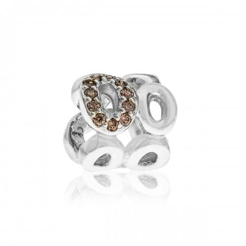 OUTLET: Pandora Circle of Friends Silver & Champagne & Brown CZ Charm 790445CZ
