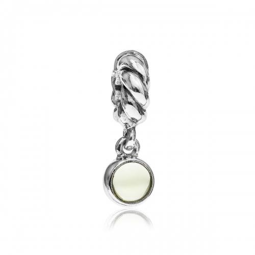 OUTLET: Pandora Disc Silver & Lime Quartz Pendant Charm 790435LQ