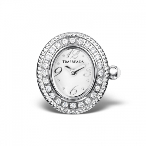EX DISPLAY: Timebeads White Oval Face With CZ TB2002CZWH