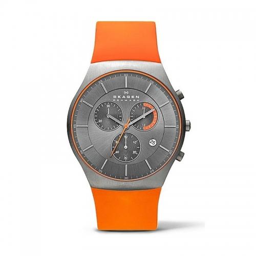 Skagen Balder Mens Orange Chronograph Watch SKW6074