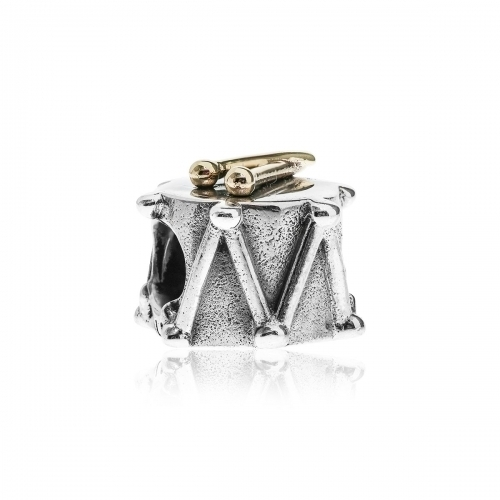 EX DISPLAY: Pandora Drums Silver & 14ct Gold Charm 790412