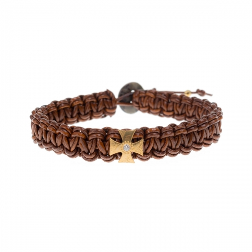 Be Christensen Mary Brown Leather, 18k Gold & Diamond Bracelet