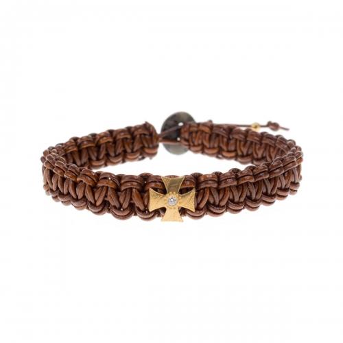 Be Christensen Mary Brown Leather, 18k Gold & Diamond Bracelet