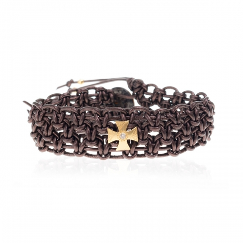Be Christensen Beema Brown Leather, 18k Gold & Diamond Bracelet