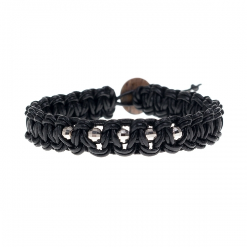 Be Christensen Norma Black Leather, 18k White Gold & Mother of Pearl Bracelet