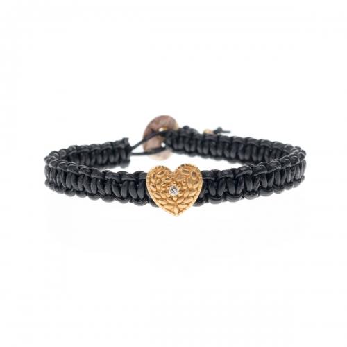 Be Christensen Heart One Black Leather, 18k Gold & Diamond Bracelet