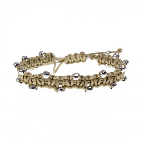 Be Christensen Jackie Gold Leather & 18k White Gold Bracelet