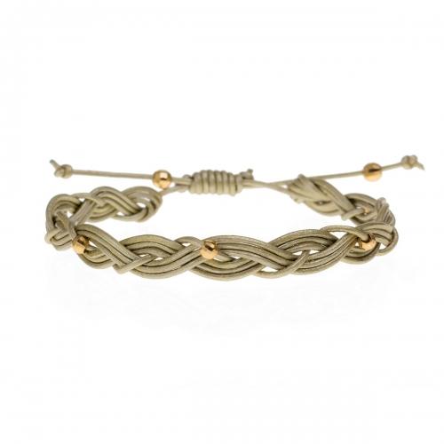 Be Christensen Maja Gold Leather & 18k Gold Bracelet