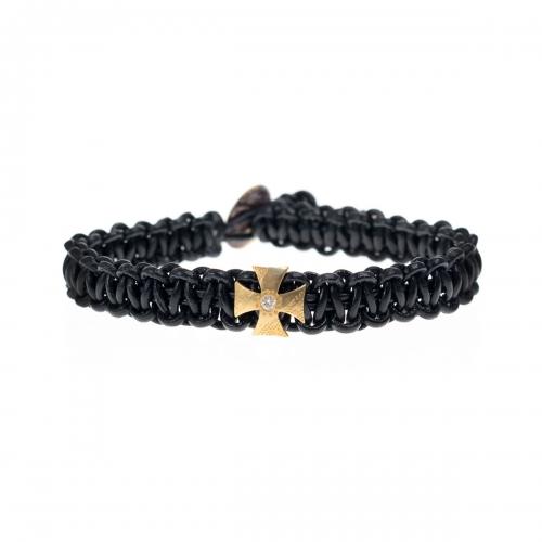 Be Christensen Alma Black Leather, 18k Gold & Diamond Bracelet