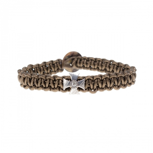 Be Christensen Alma Brown Leather, 18k White Gold & Diamond Bracelet