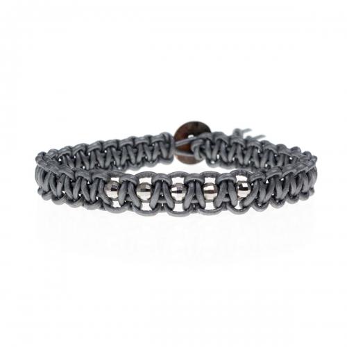 Be Christensen Audrey 5 Silver Leather & 18k White Gold Bracelet