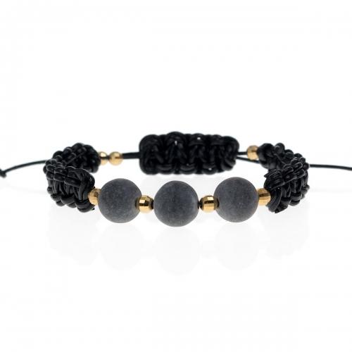 Be Christensen Mie Black Leather, Onyx & 18k Gold Bracelet