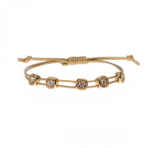 Be Christensen Greta Gold Leather, 18k Gold & Swarovski Bracelet