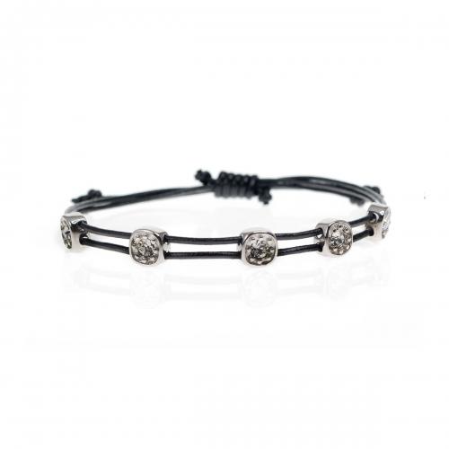 Be Christensen Greta Black Leather, 18k White Gold & Swarovski Bracelet