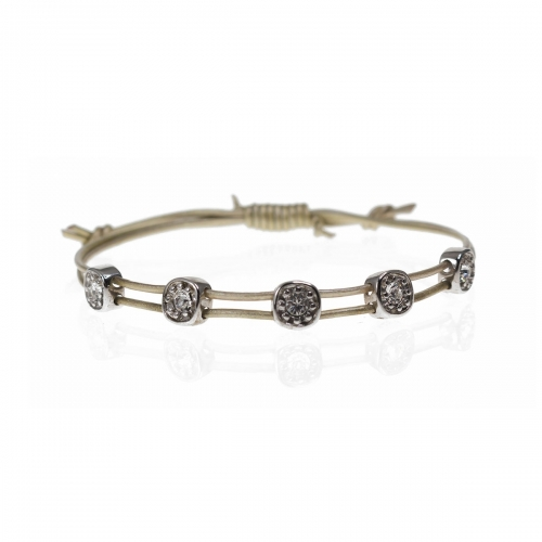 Be Christensen Greta Silver Leather, 18k White Gold & Swarovski Bracelet
